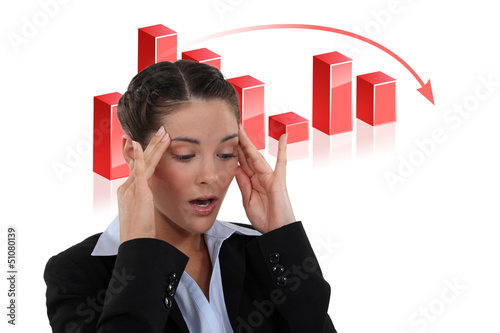 Stressed female banker