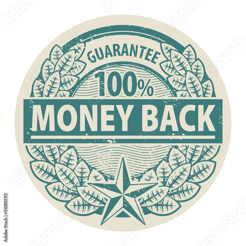 Stamp with the words Money Back written inside the stamp, vector