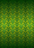 green secession foliage pattern on yellow vector poster