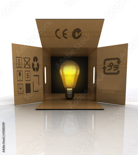 open crate with bulb light illumination