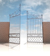 glossy iron gate in strong brick wall concept