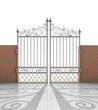 isolated closed iron gate in strong brick wall