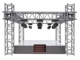 isolated stage podium with many spotlights