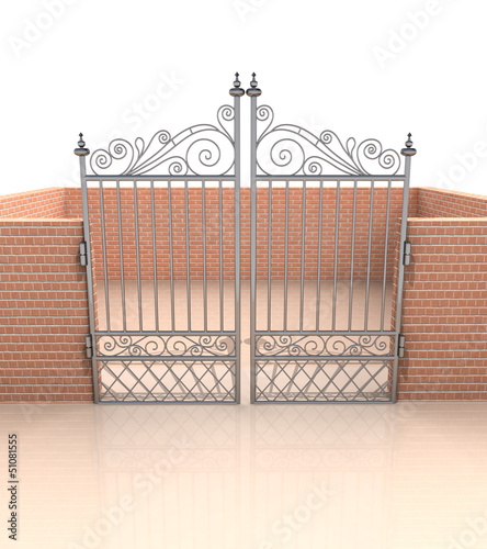 closed iron gate in quadrilateral brick fence