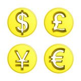 dollar euro yen and pound coin vector pack