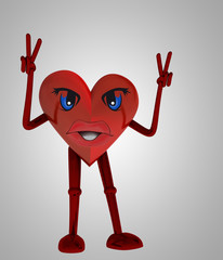heart figure victory happiness against disease