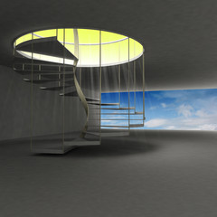 spiral staircase leading to gold heaven above clouds