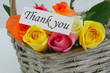 Thank you note with colorful flower basket