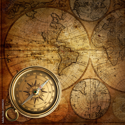 Fototapeta old compass on vintage map 1746