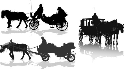Silhouettes of a horse put to a cart