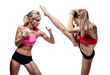 Two attractive athletic girls fighting