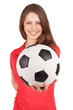 Girl holding a soccer ball in his outstretched hand