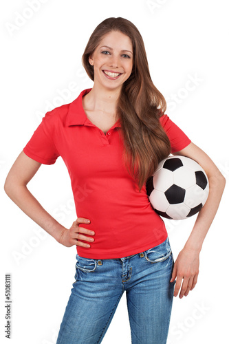 Beautiful girl with a soccer ball