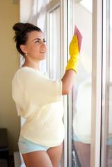 Woman clean windows