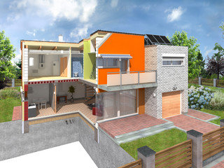 Modern house in the section with visible infrastructure