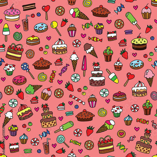 Seamless colorful doodle pattern with sweets