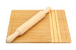 brbreadboard and rolling pin isolated on white background