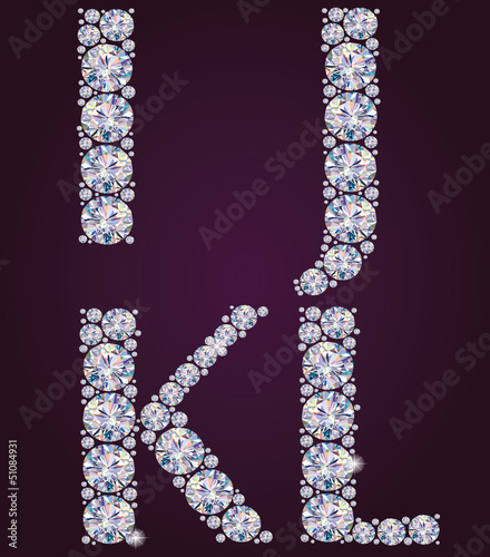 Alphabet of diamonds IJKL