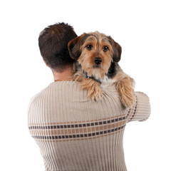 Man Holding a Borkie Dog