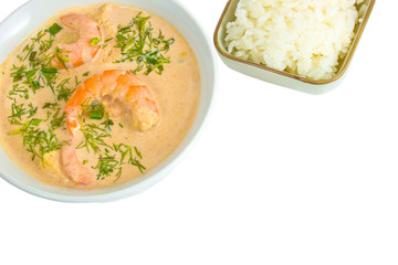 shrimp soup rice plate isolated on white background clipping pat