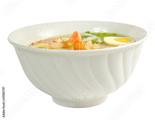 soup pasta eggs hot isolated a on white background clipping path