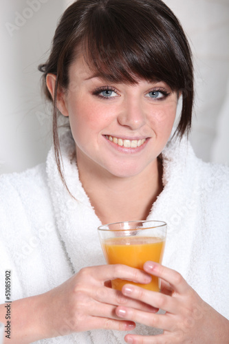 Brunette in bath robe