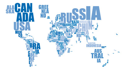 Weltkarte mit blauer Schrift