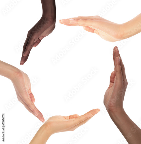 Conceptual symbol of multiracial human hands making a circle