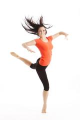 Lachende Balett Tänzerin tanzt mit Hingabe