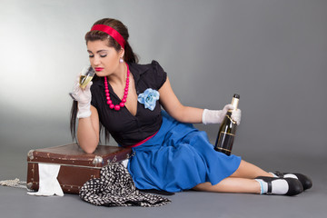 pinup girl with bottle of champagne