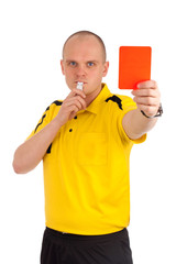 Football referee showing you the red card
