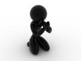 Black ceramic man prays on a white background №1