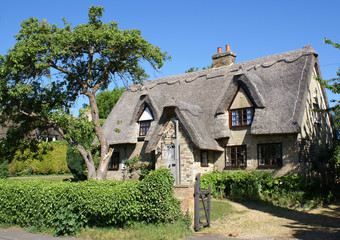 Thatched cottage in East Anglia village