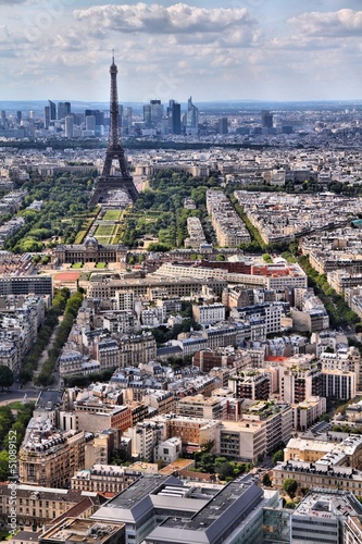 Eiffel Tower cityscape in Paris, France