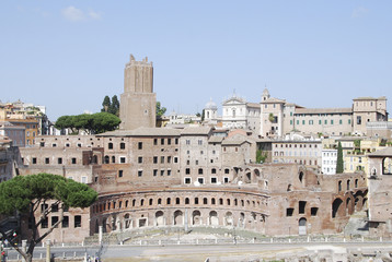 Aerial view of Trajan's Forum - Rome, Italy