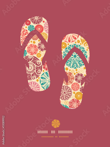 Vector abstract decorative circles flip flops pattern background