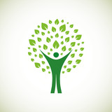 A pictographic image of a green man poster