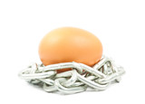 egg  with chains isolated on the white background
