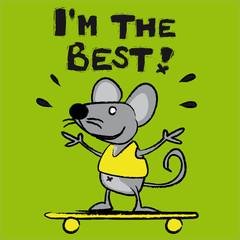 souris, rat, meilleur, skate, personnage, bande dessinée