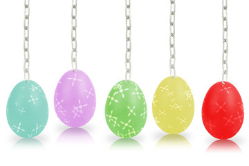 Colorful eggs hanging by chains isolated on the white background