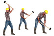 Tradesman laboriously using a mallet