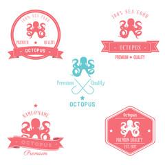 Vintage Octopus Badge set   Editable EPS vector illustration