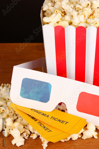 popcorn with tickets and cinema glasses