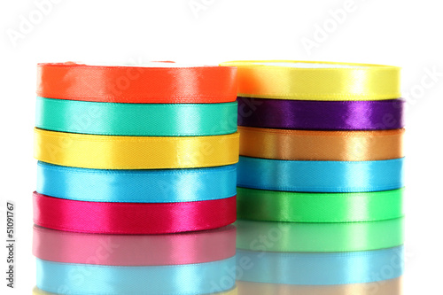 Many bright ribbons isolated on white