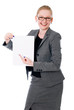 Portrait of cheerful young business woman holding a white blank