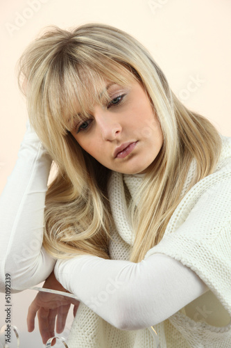 woman looking sad and tired
