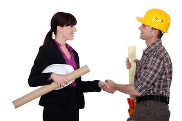 Construction hand-shake