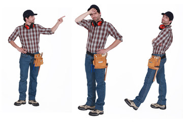 Handyman with ear muffs