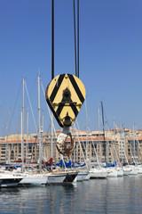 Crane by a port