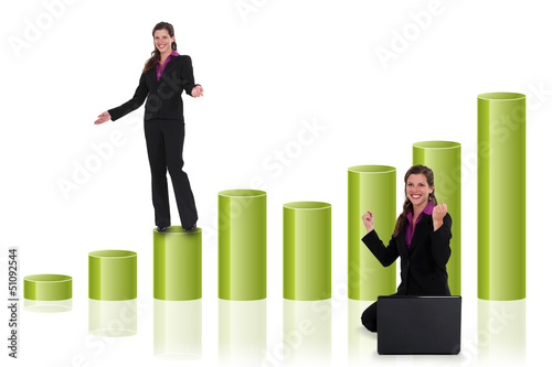 Successful businesswoman with a bar chart